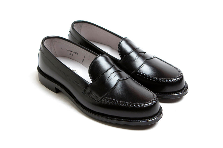 Alden Leisure Hand Sewn Penny Loafer Black Calf