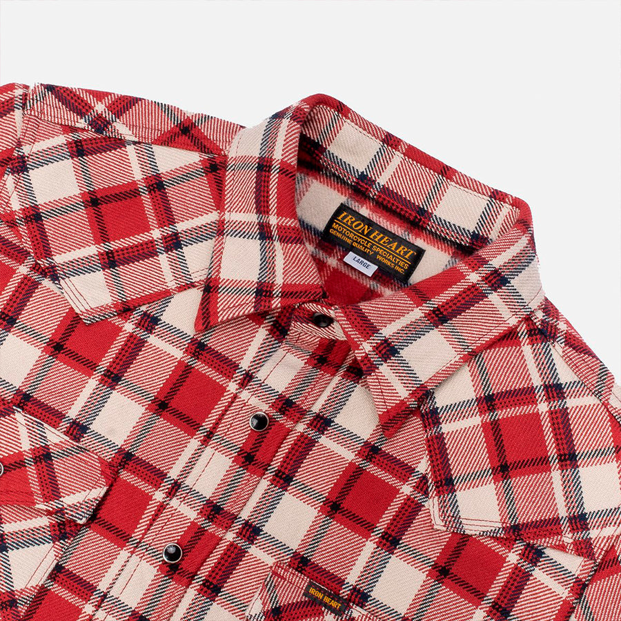 Iron Heart IHSH-259 Small Block Check Ultra Heavy Flannel Red