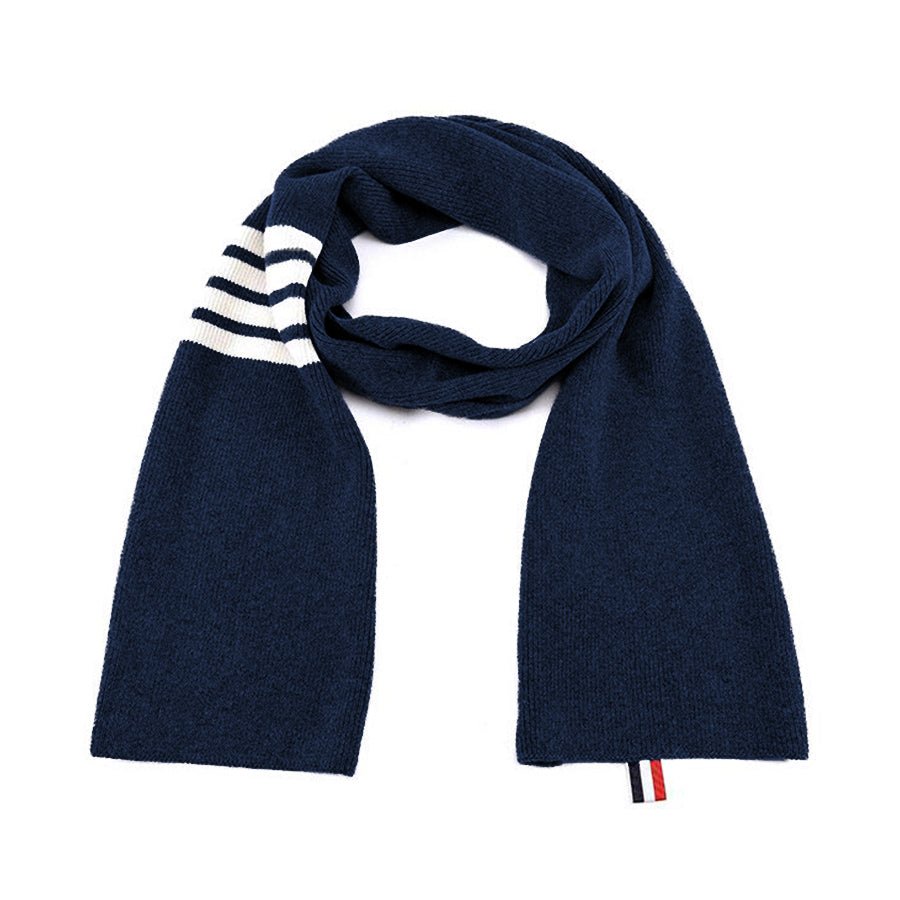 Thom Browne 4-Bar Stripe Cashmere Rib Scarf Navy