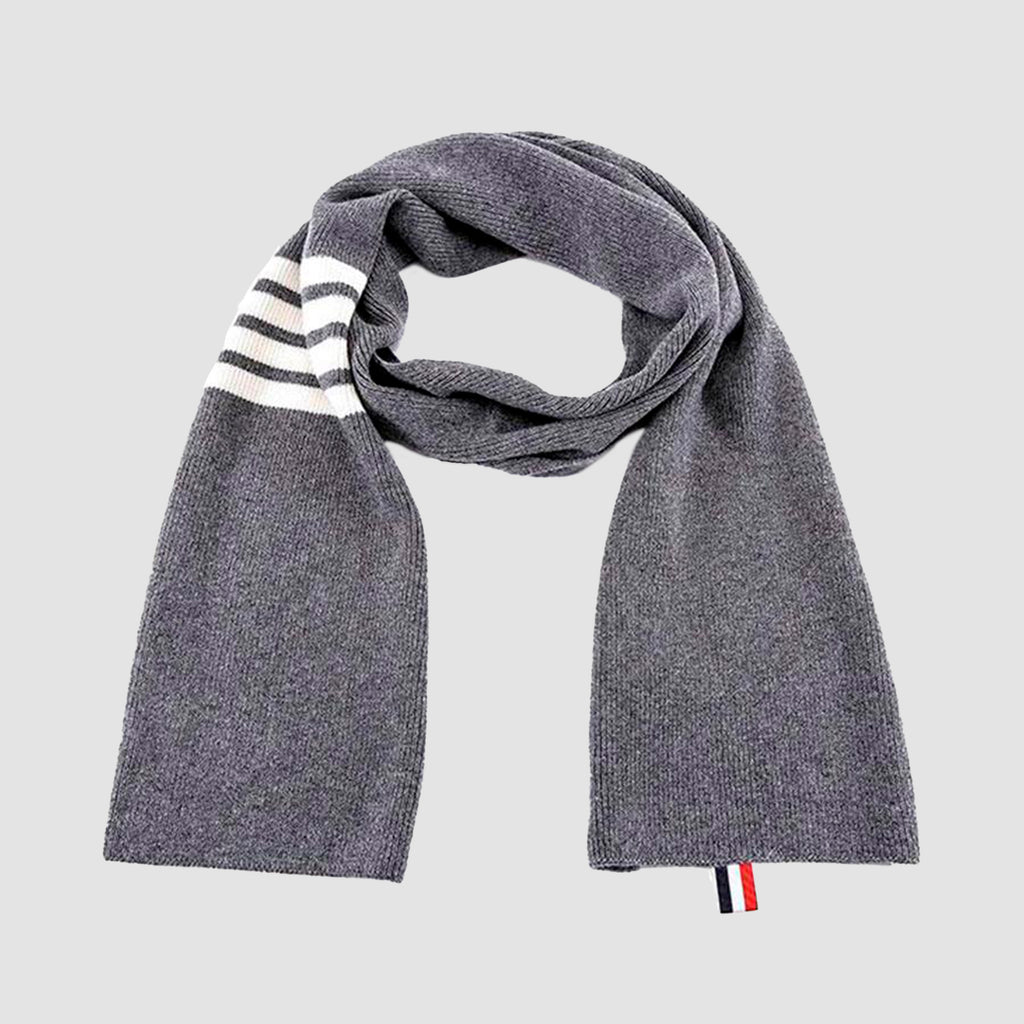 Thom Browne 4-Bar Stripe Cashmere Rib Scarf Grey