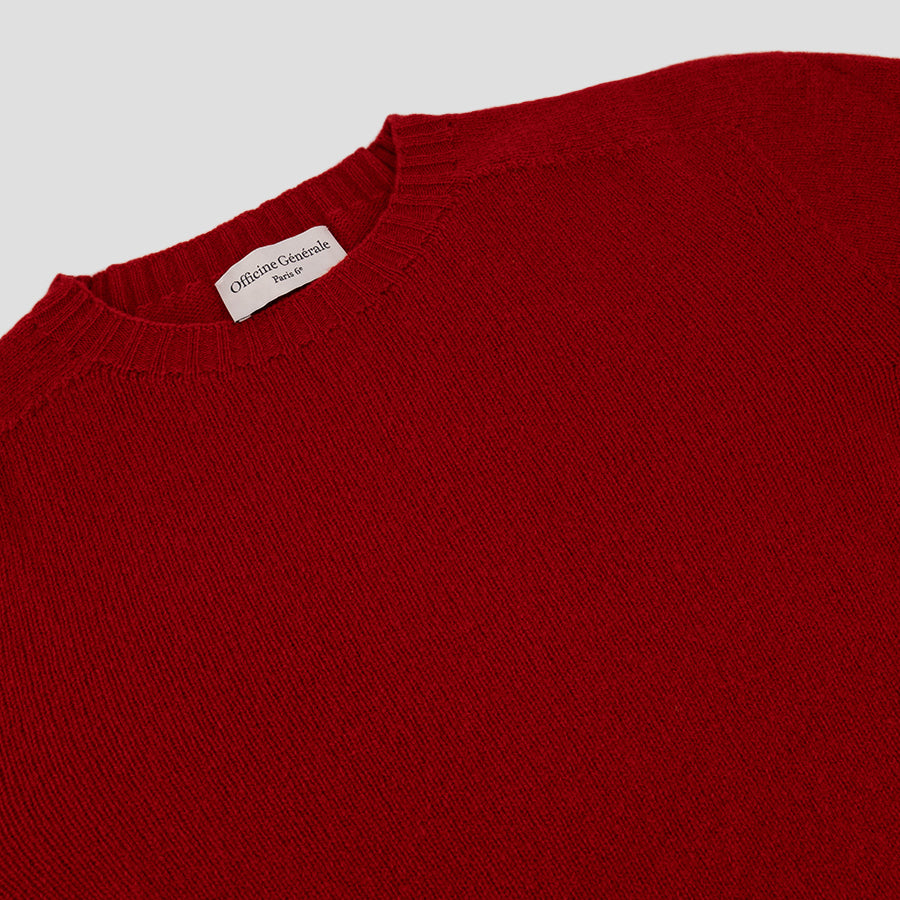 Officine Générale Seamless Sweater Italian Brushed Superfine Merino Wool Red