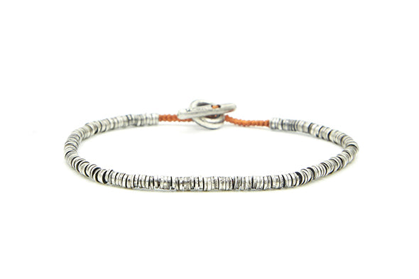 M. Cohen Mini Sterling Silver Disc Bracelet With Rust Cord