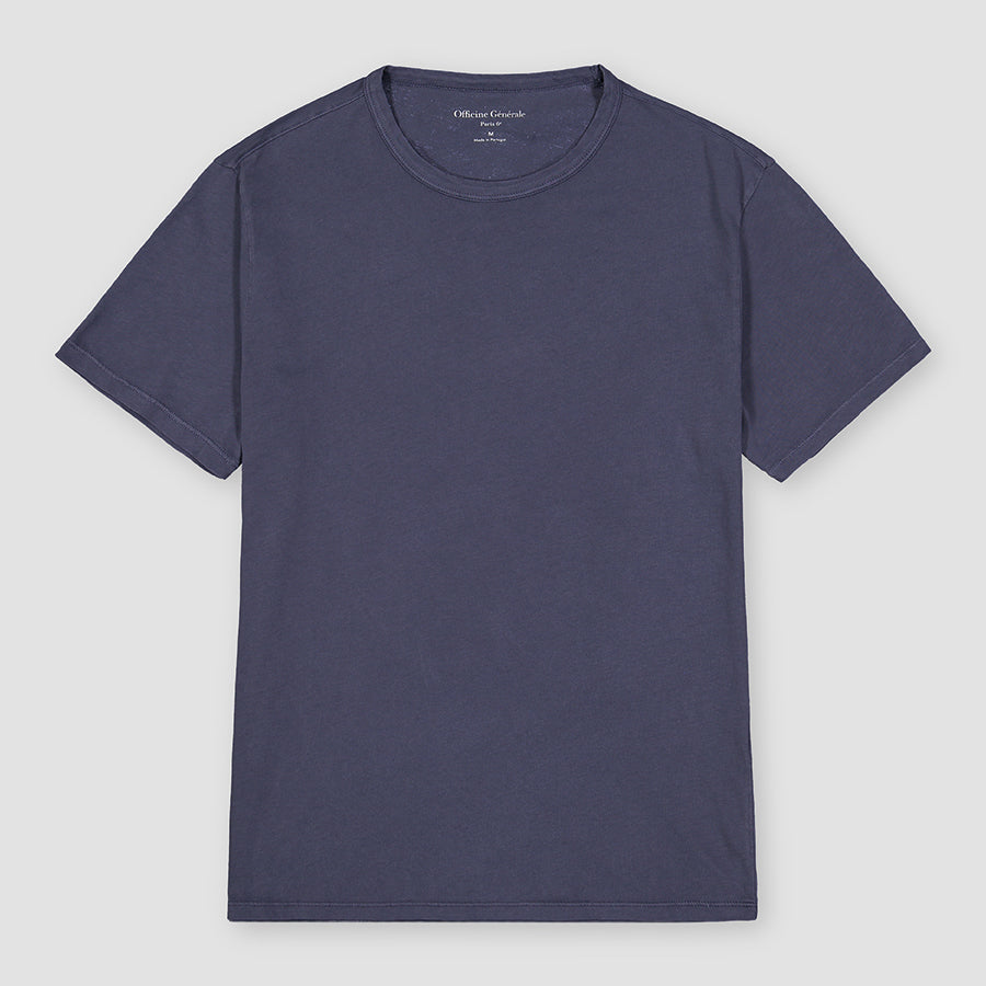 Officine Générale T-Shirt Pigment Dye Ice Touch Cotton Denim Blue