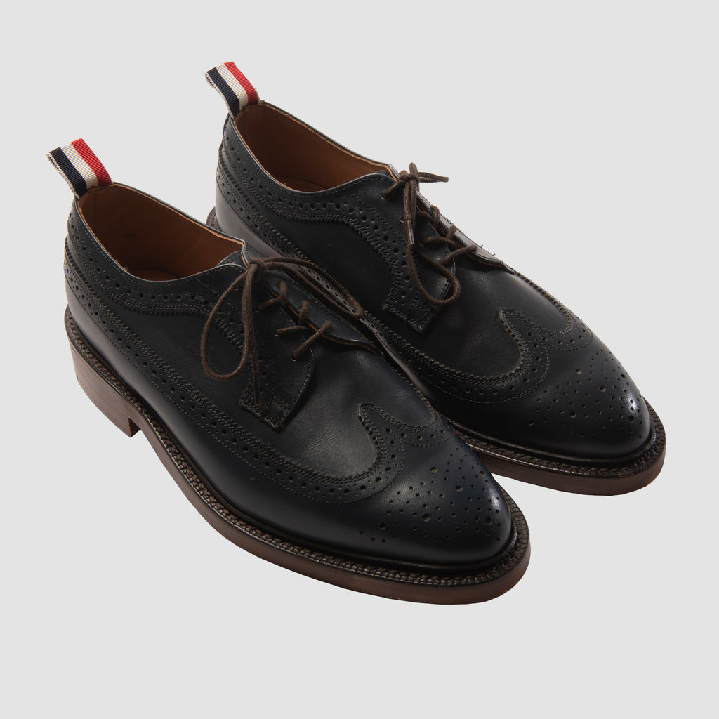 Thom Browne Classic Navy Longwing Brogue with Leather Sole