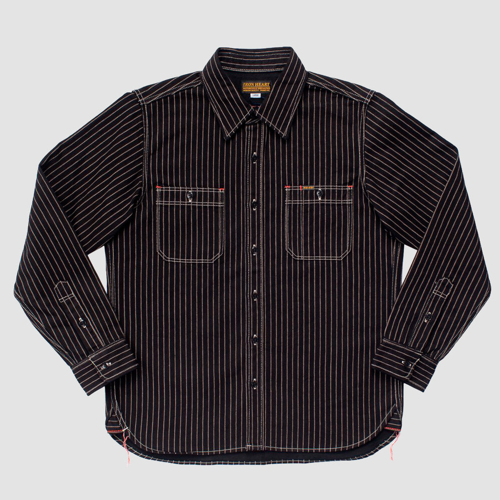 12oz IHSH-266 Wabash Work Shirt Black with Black Buttons