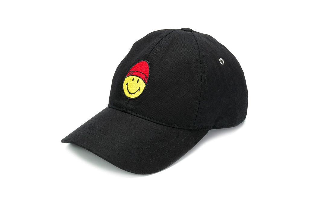 CAP WITH SMILEY PATCH BLACK