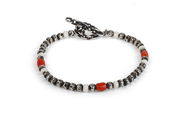 M. Cohen Mini Carved Round Bead with Red Coral Detail