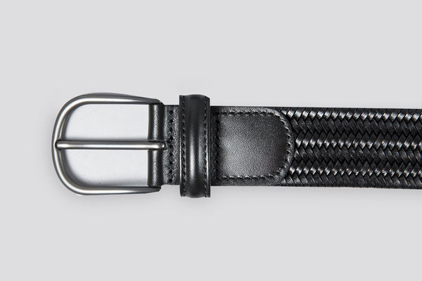 Anderson's Woven Leather Belt Solid Black