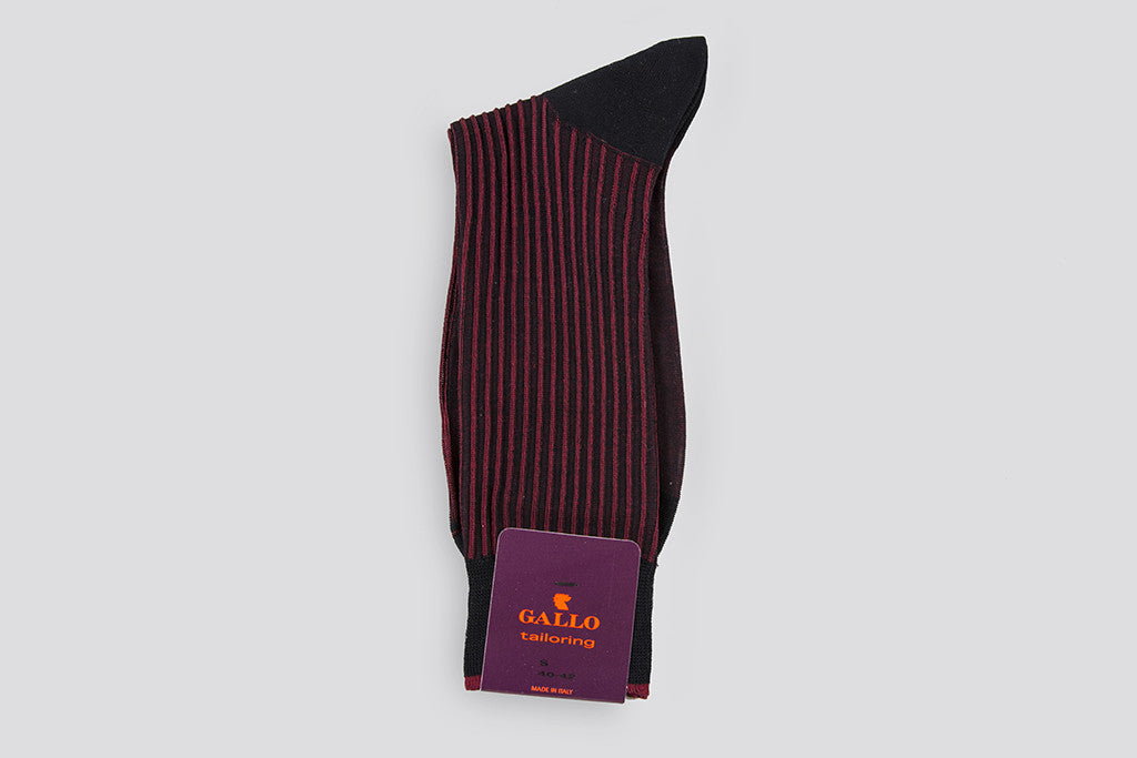 Gallo Textured Rib Cotton Short Sock Black/Red