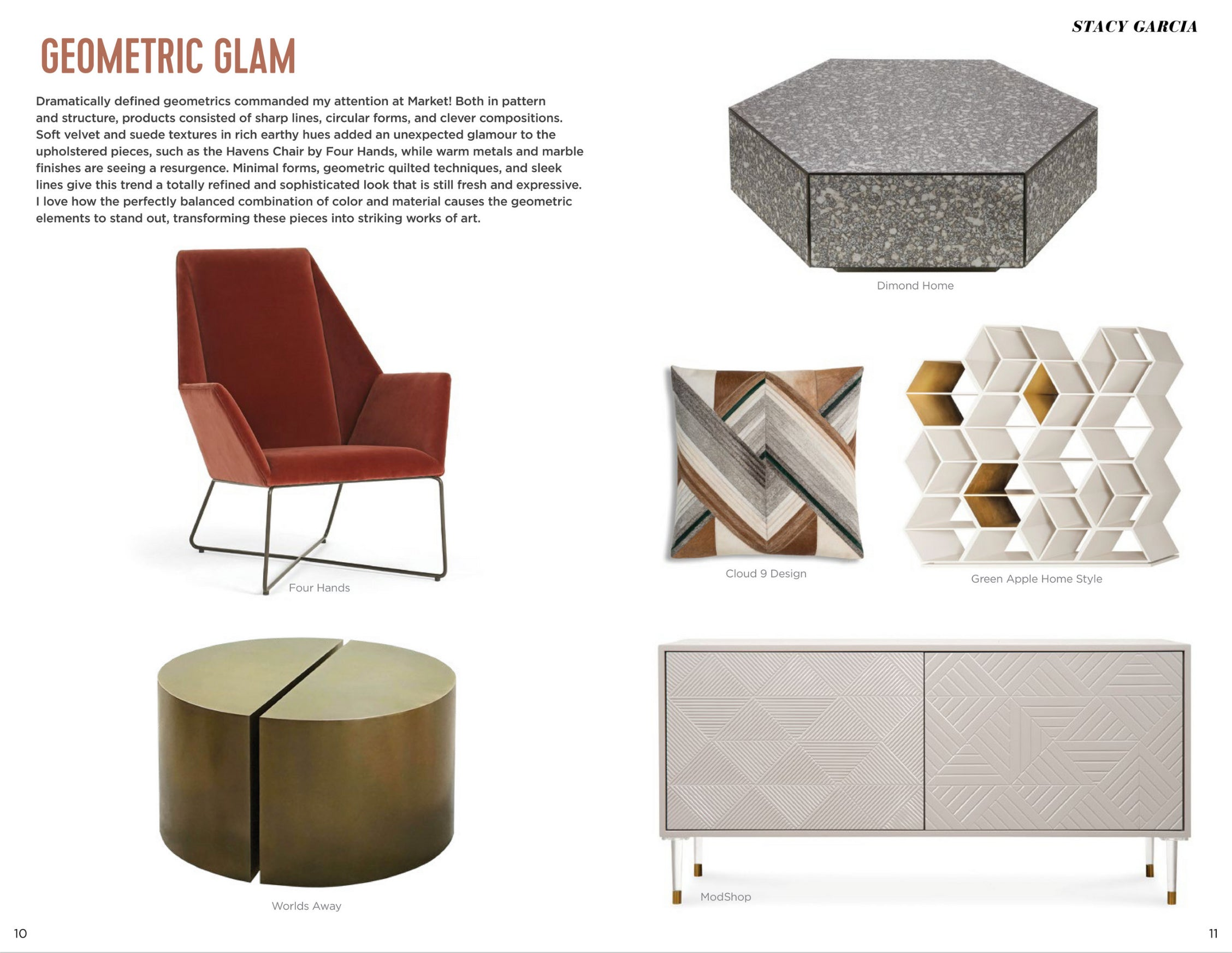 high point market style report article geometric glam by stacy garcia featuring modshop's monaco petite credenza in smoke ember