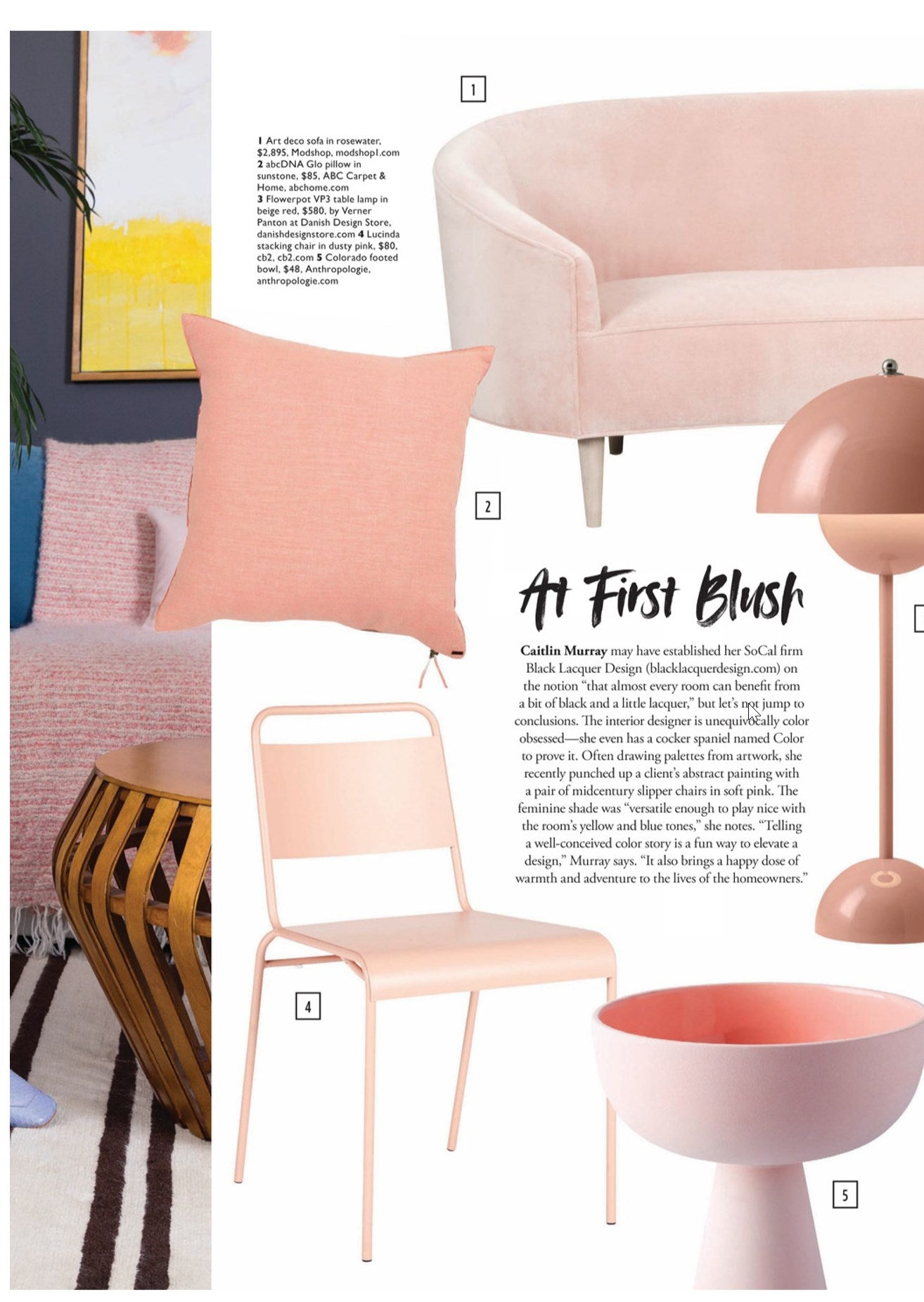 modern luxury interiors magazine featuring modshop's art deco sofa in rosewater velvet