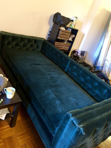 Dark blue velvet sofa bed with tufted upholstery over interior back and sides in cluttered room with brown coffee table
