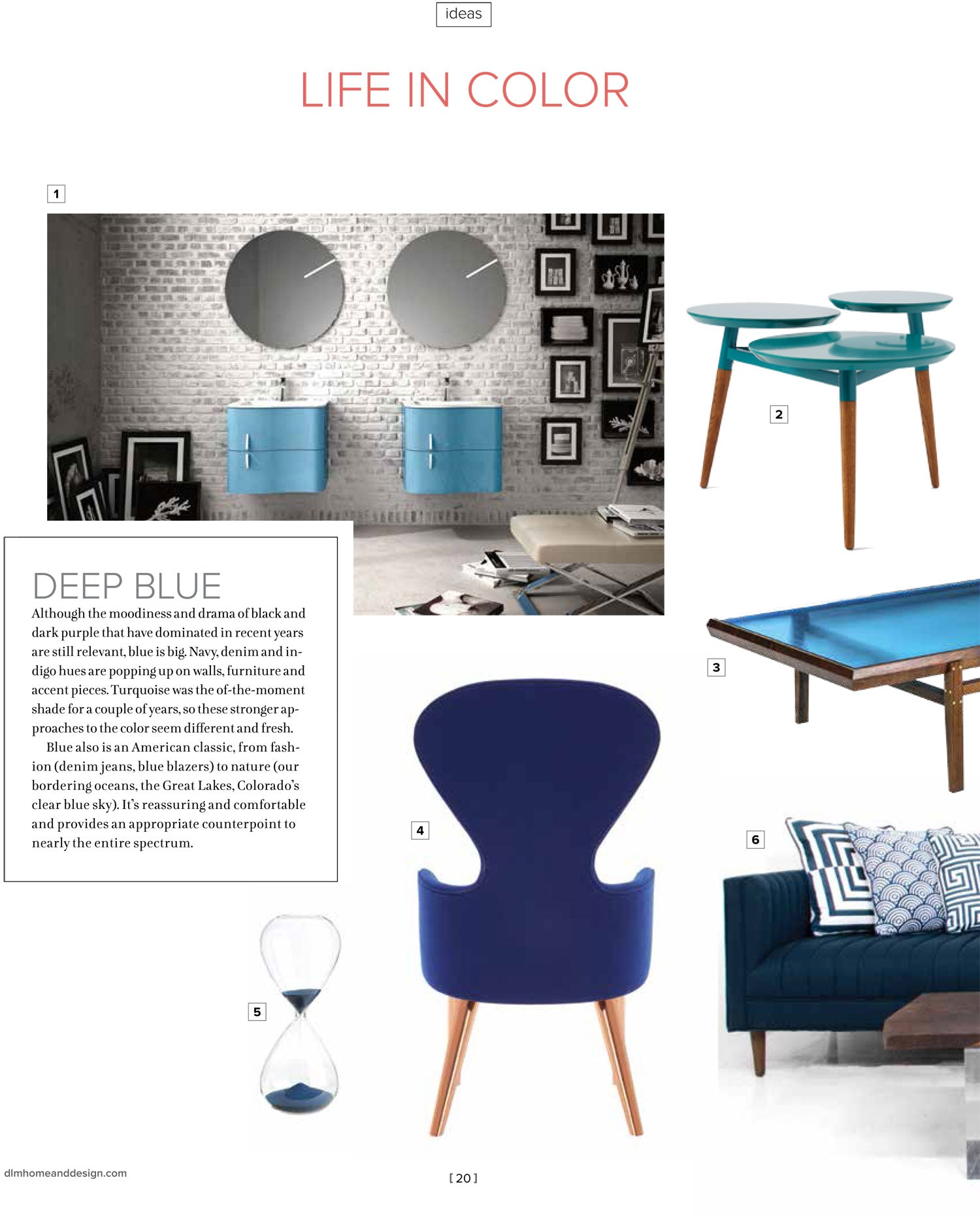 Magazine page showing modern-style furniture, accent pieces in various tones of blue, 'Life in Color' printed in red at top