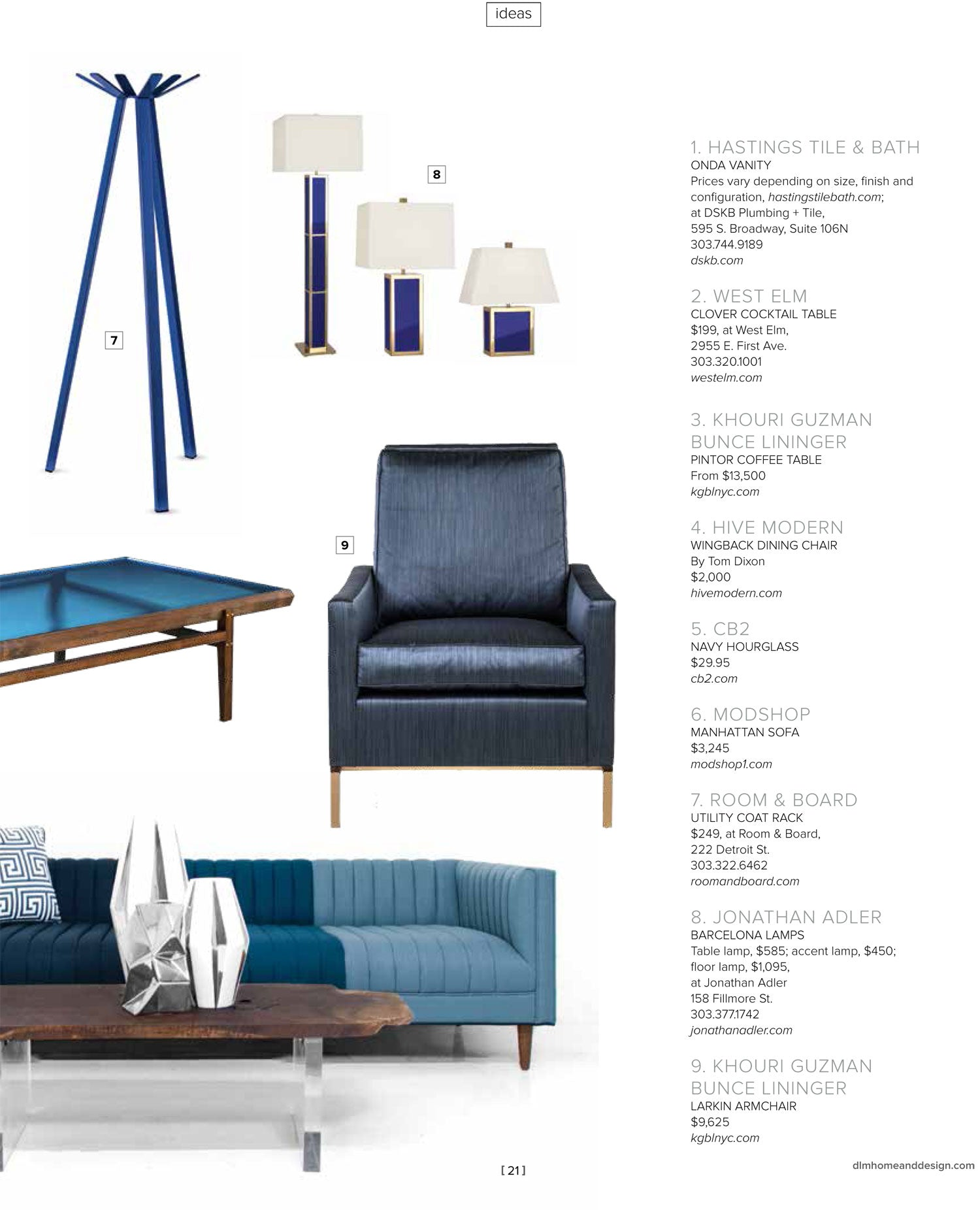 Catalog-type page with numbered, modern-style blue furniture pieces, lamps and coatrack, plus print on right side about each item