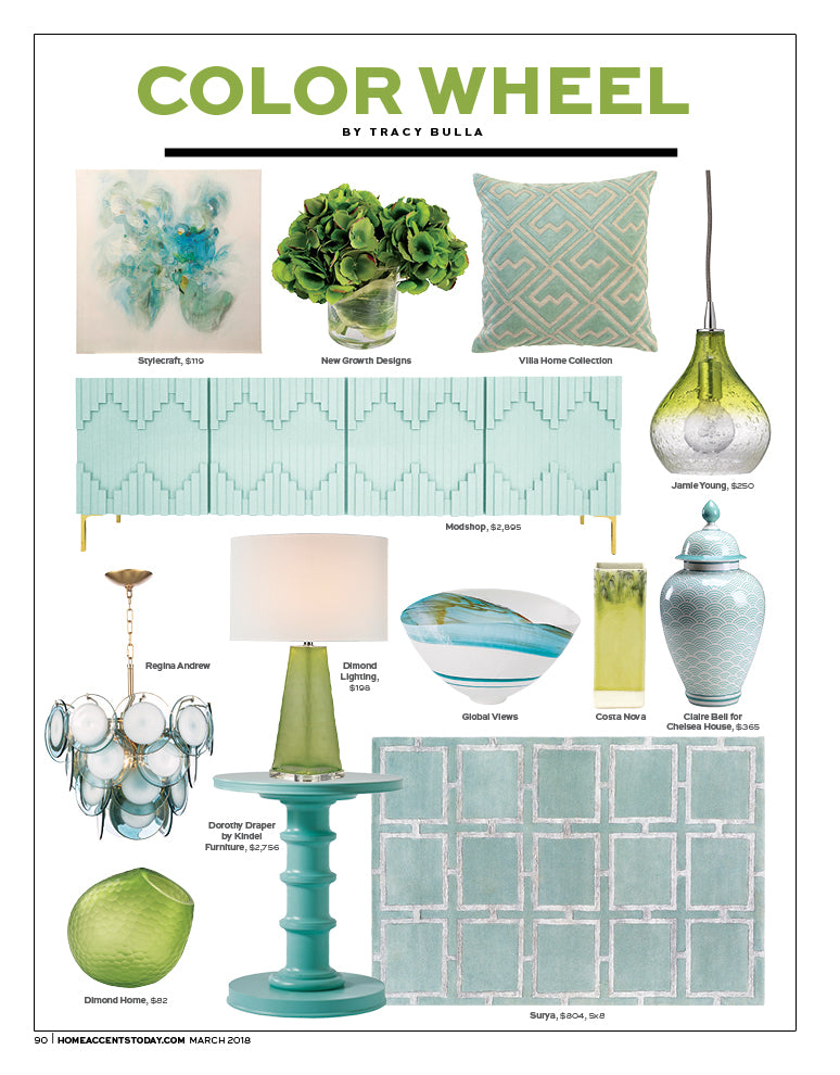 home accents today magazine article color wheel by tracy bulla featuring modshop's manhatan four door credenza
