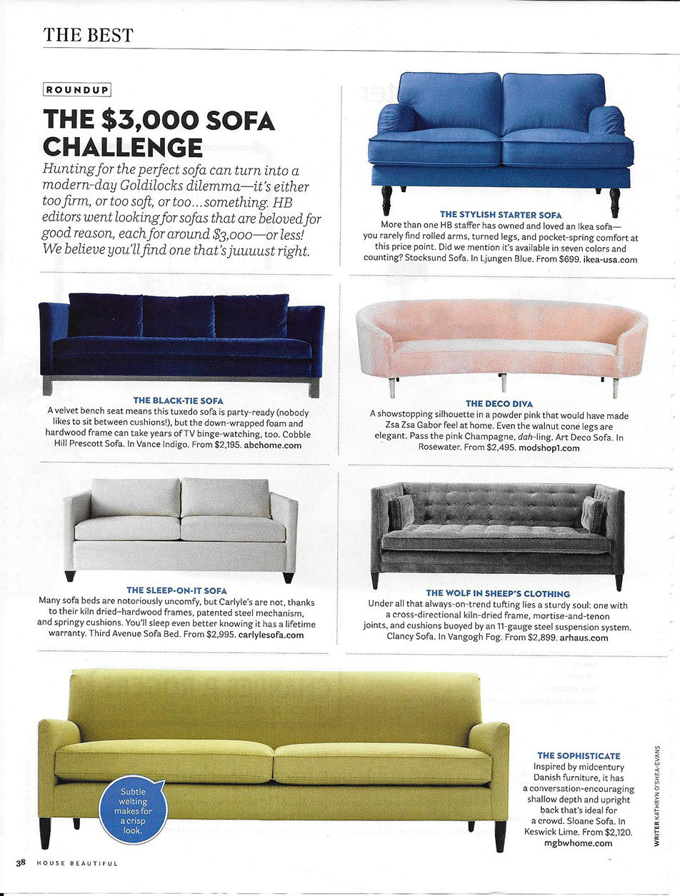 house beautiful magazine march 2017 article featuring modshop's art deco sofa in blush pink