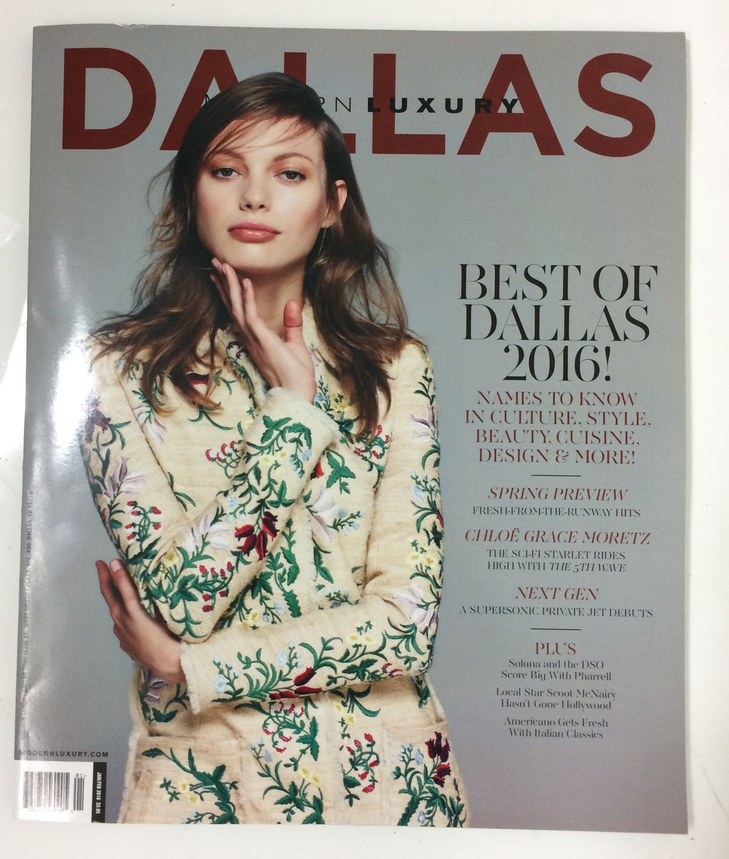 Dallas Modern Luxury magazine cover with beautiful woman in floral-print dress, words 'Best of Dallas 2016', and other topics