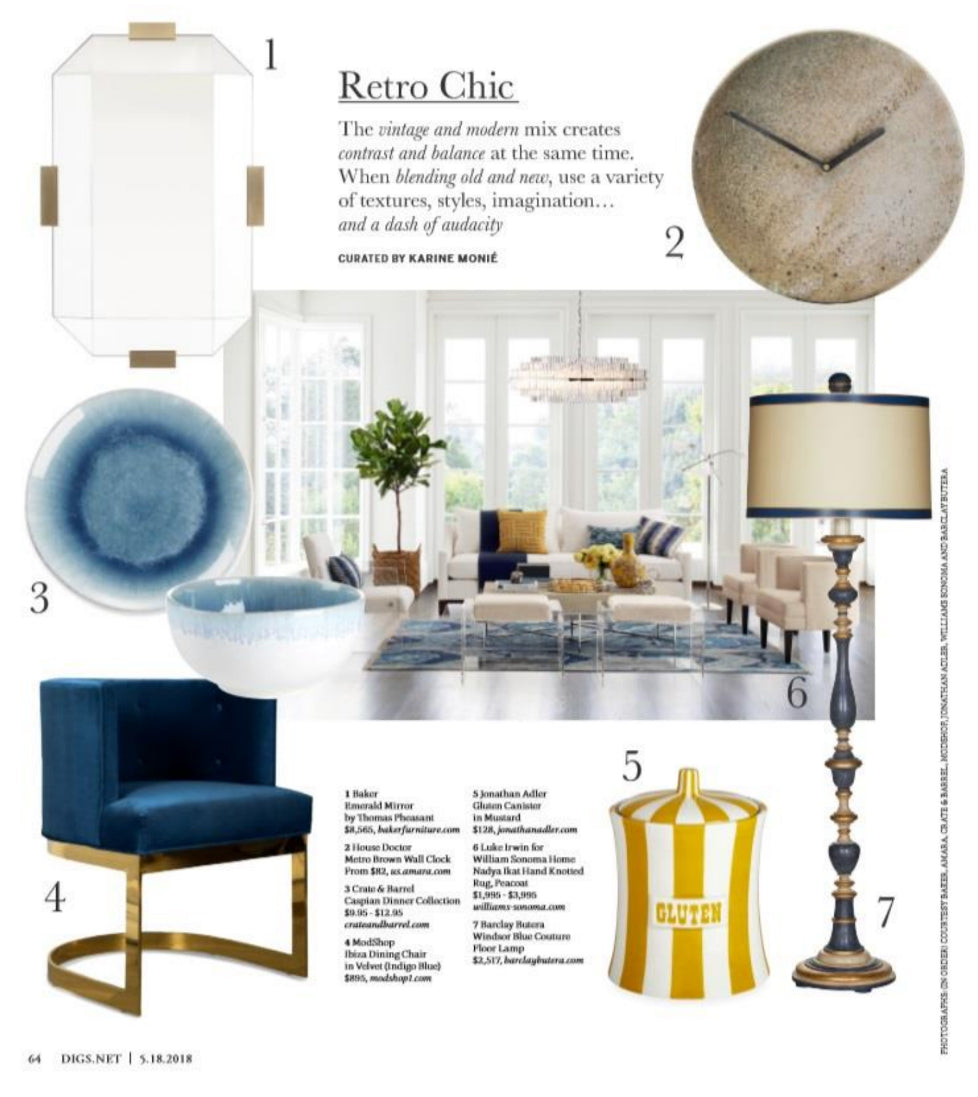 south bay digs magazine featuring modshop's ibiza dining chair in indigo blue velvet