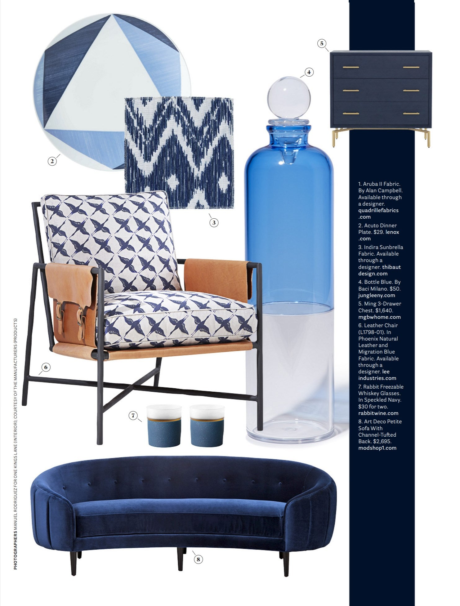 house beautiful january 2019 featuring modshop's navy velvet art deco petite sofa with channel tufting