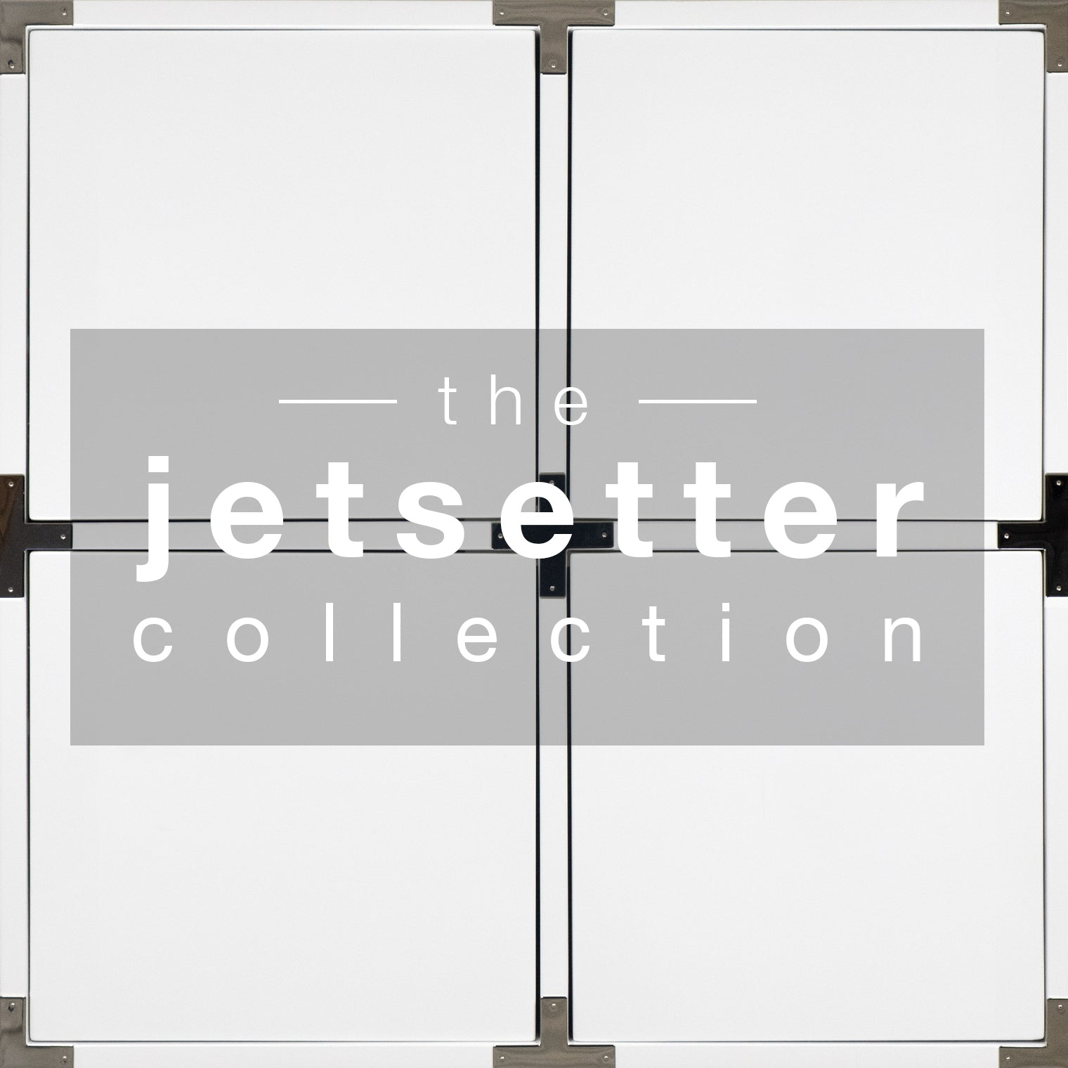 White squares edged in black with wood hinge pieces at corners, white letters in shaded area spell 'the Jetsetter Collection'