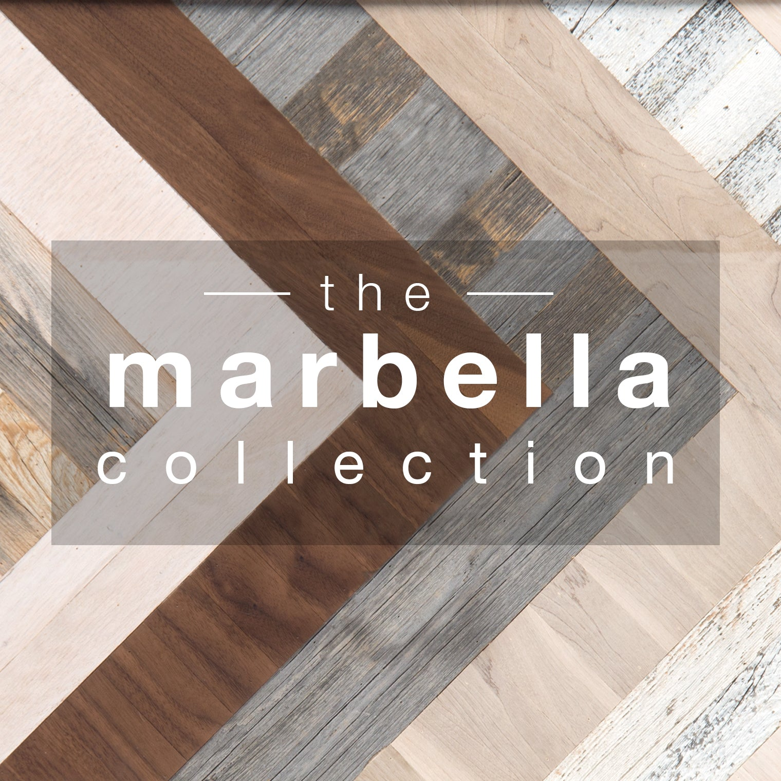 Strips of multicolor wood in chevron design, with white letters on shaded center rectangle spelling 'the Marbella Collection'