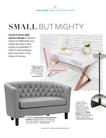millenial home magazine article idea board small space solutions featuring modshop's kubist desk with recycled wood door fronts and rose gold legs