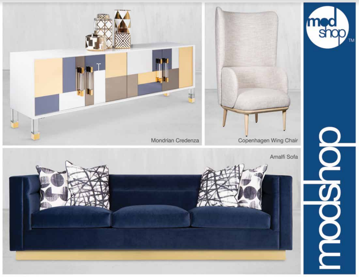 Modern-style credenza, chair and sofa in white, gold, beige and blue color theme, with 'ModShop' in bold print on right side