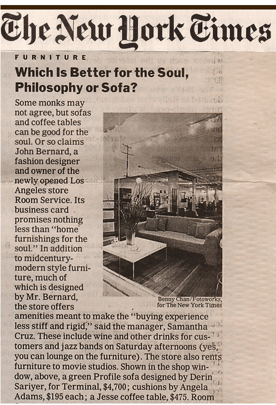 Snippet of New York Times article about a furniture store in Los Angeles called 'Room Service' with photo of inside of store