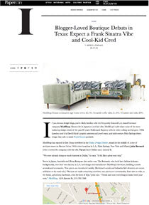 Web article about a boutique in Texas, photo of green, modern-style sofa decorated with bold-patterned pillows, map below