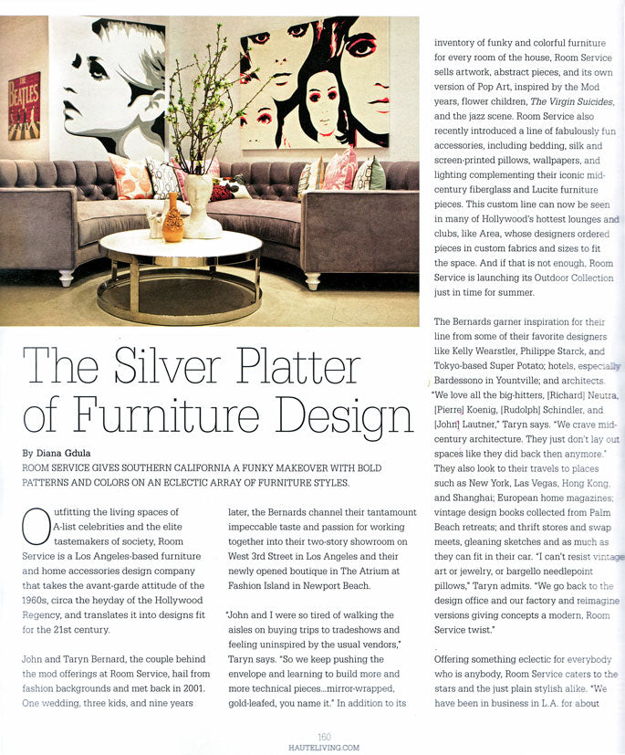 Title page of article about furniture design, with photo of modern-style living room, contemporary décor and artwork