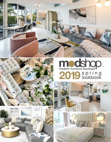 Words 'ModShop spring lookbook 2019', photos of peach-and-gray-toned, upscale modern living rooms, kitchen, bedroom interiors
