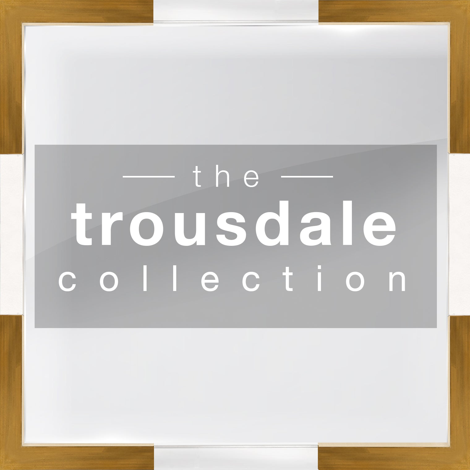Gray background, gold-brown and white block border, white-lettered 'the Trousdale Collection' inside center shaded rectangle