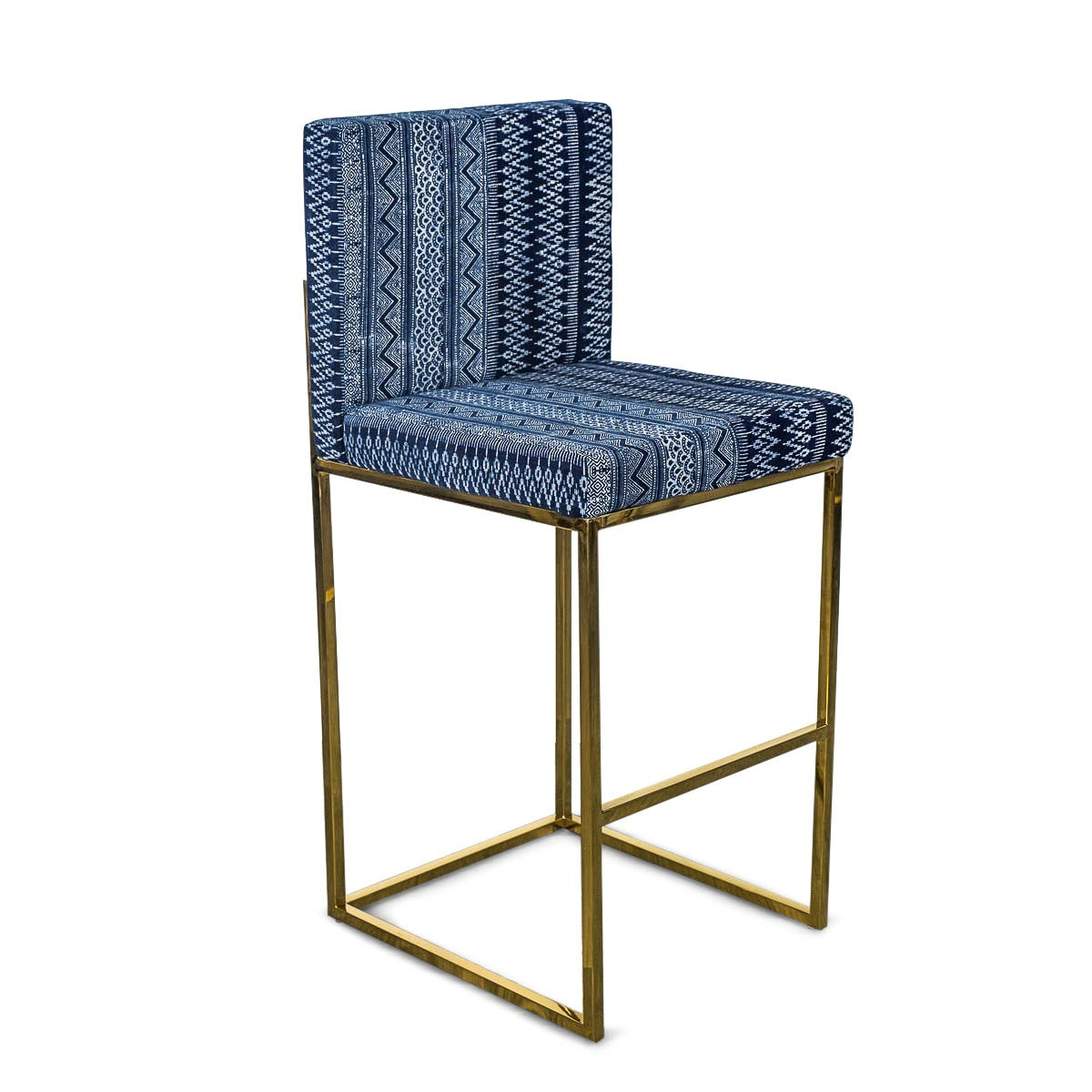 007 Bar Stool in Hand Printed Indigo Mud Cloth - ModShop1.com