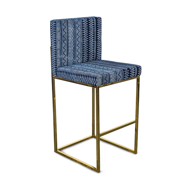 007 Bar Stool in Hand Printed Indigo Mud Cloth
