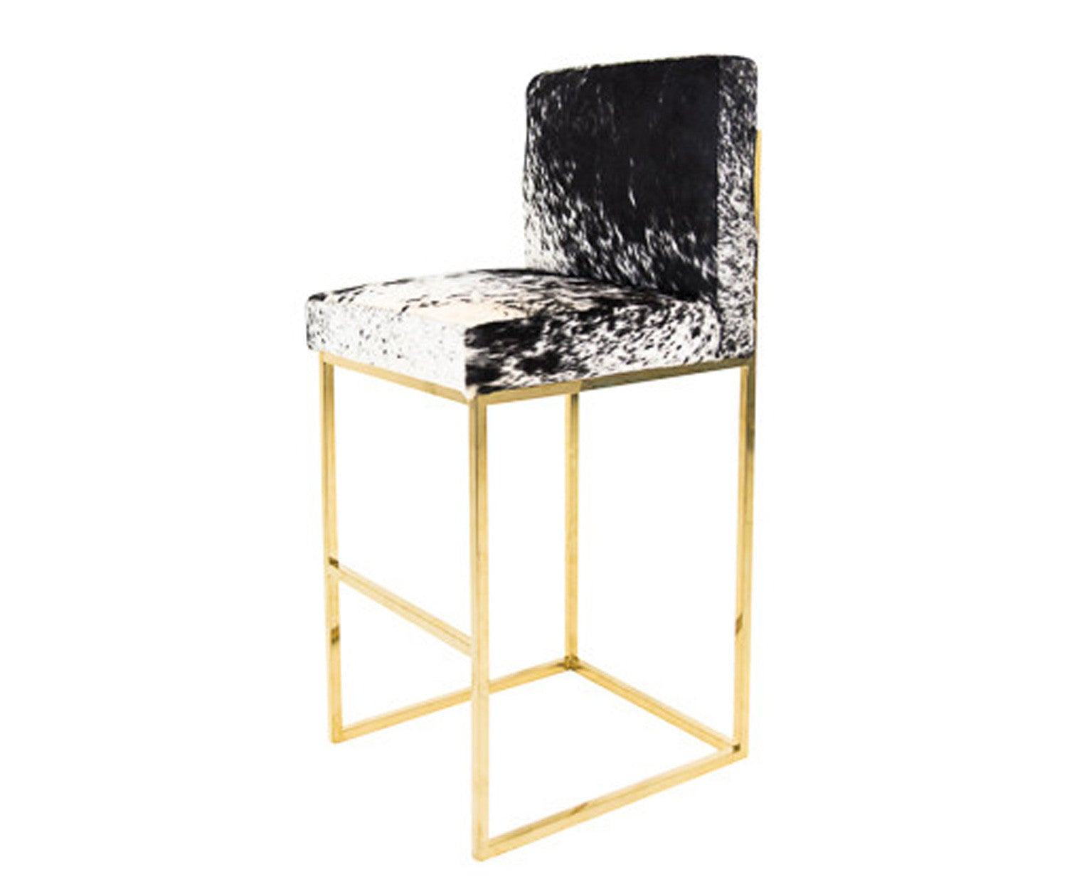 Bar Stool In B Amp W Spotted Cowhide With Brass Legs Modshop