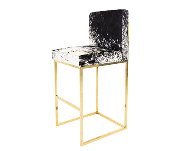 007 Bar Stool in B&W Spotted Cowhide - ModShop1.com