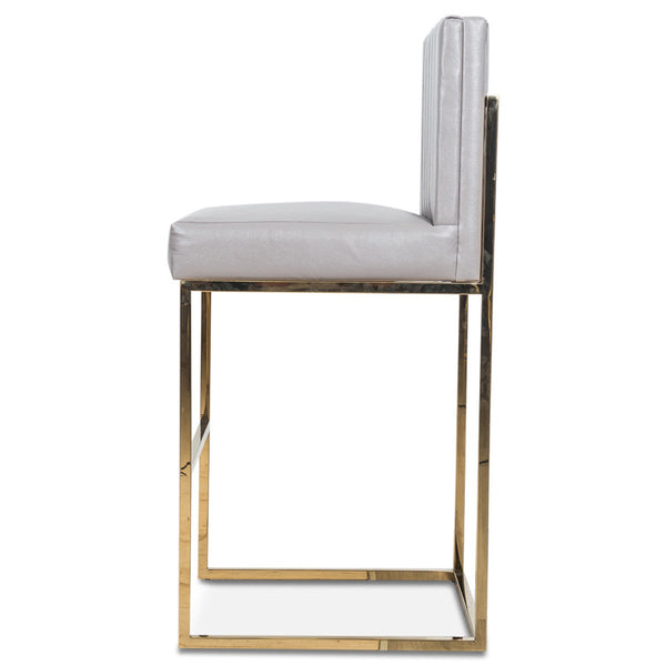 007 Bar Stool in Channel Tufted Faux Leather
