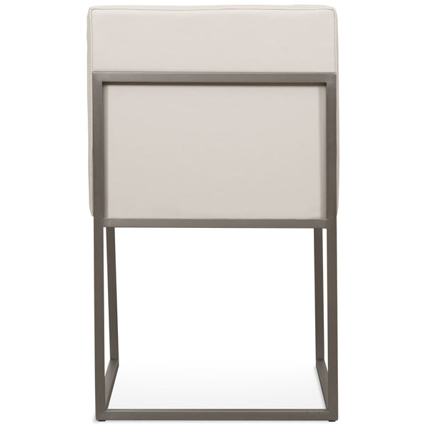 007 Dining Chair in Brushed Nickel and Channel Tufted Faux Leather - ModShop1.com