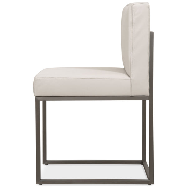 007 Dining Chair in Brushed Nickel and Channel Tufted Faux Leather