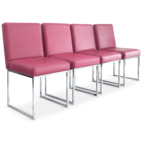 007 Dining Chair in Fuchsia Faux Leather (Set of 4)