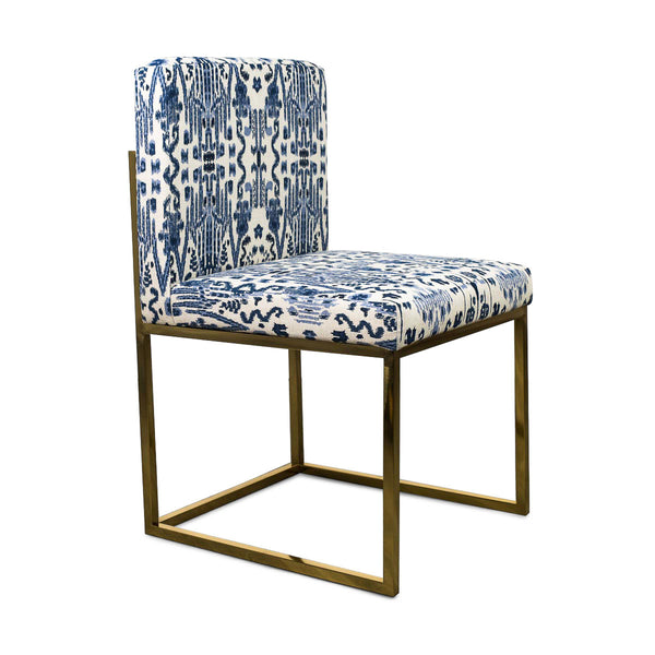 007 Dining Chair in Navy and White Ikat