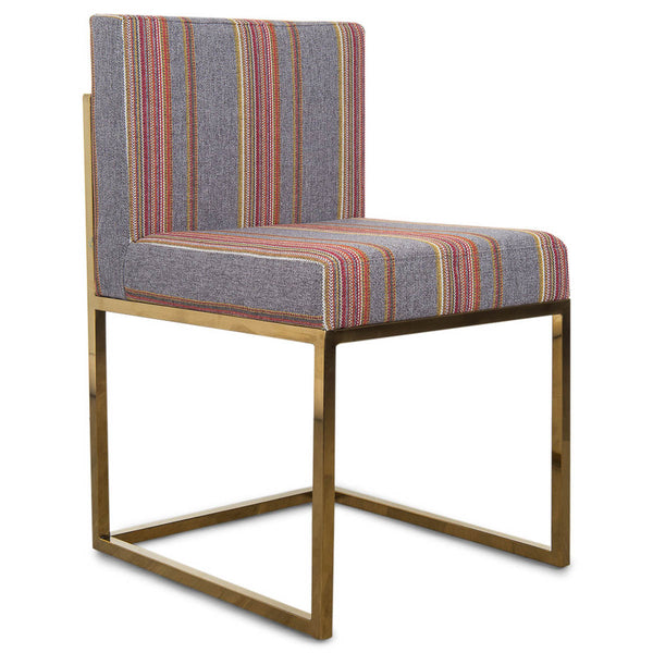 007 Dining Chair in Multi Stripe Textured Linen