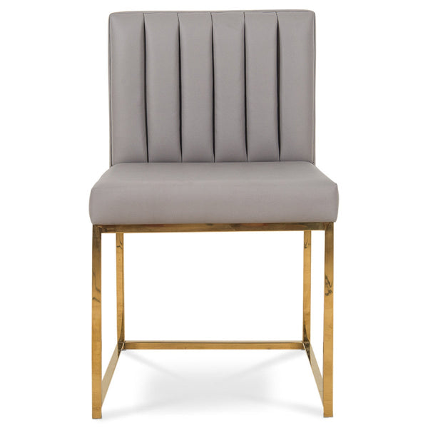 007 Dining Chair in Channel Tufted Faux Leather - ModShop1.com