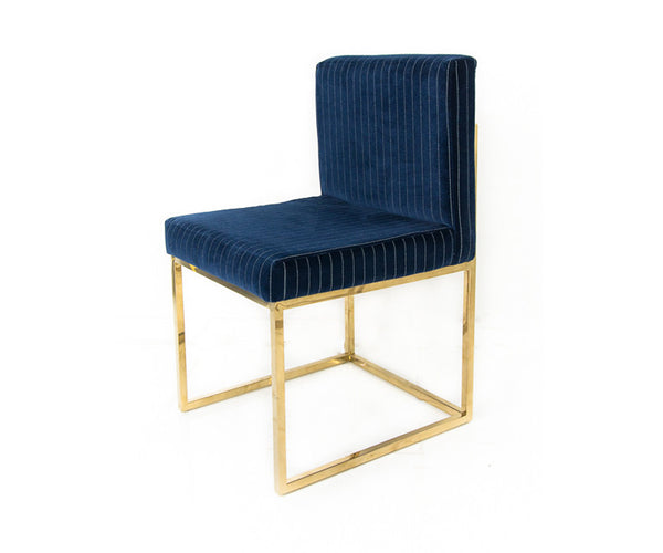 007 Dining Chair in Navy Pinstripes