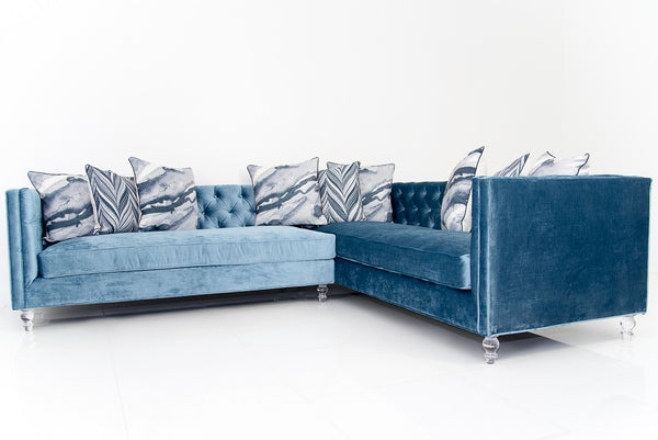007 Sectional In Cornflower Blue Velvet