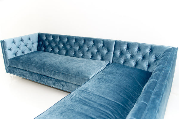 007 Sectional In Cornflower Blue Velvet - ModShop1.com