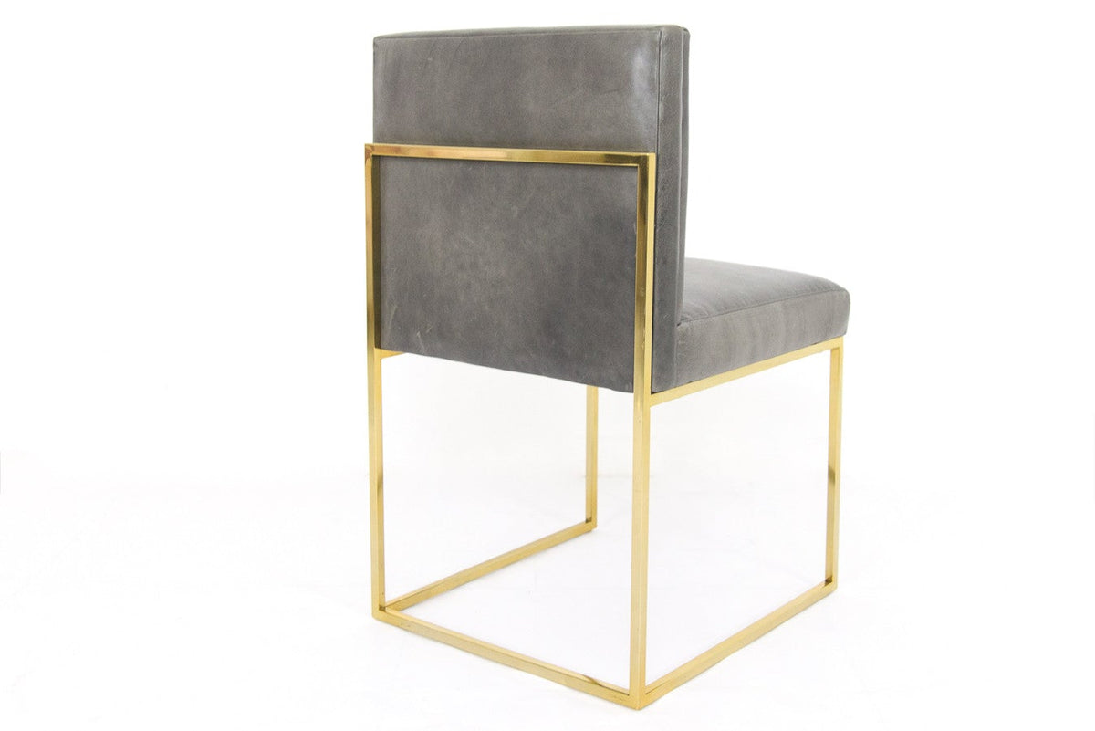 007 Dining Chair with Long Arm Tufting in Distressed Leather - ModShop1.com