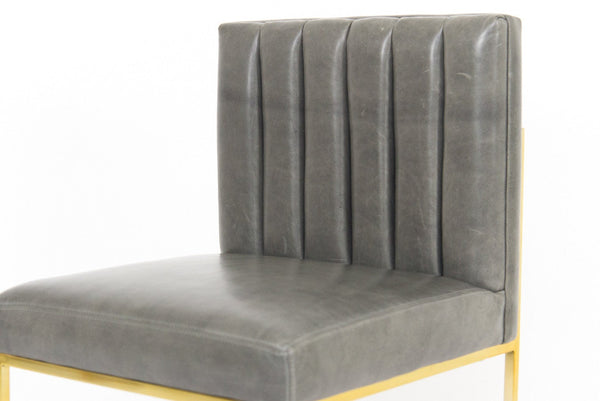 007 Dining Chair with Long Arm Tufting in Distressed Leather