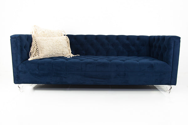 Hollywood Loveseat in Navy Velvet