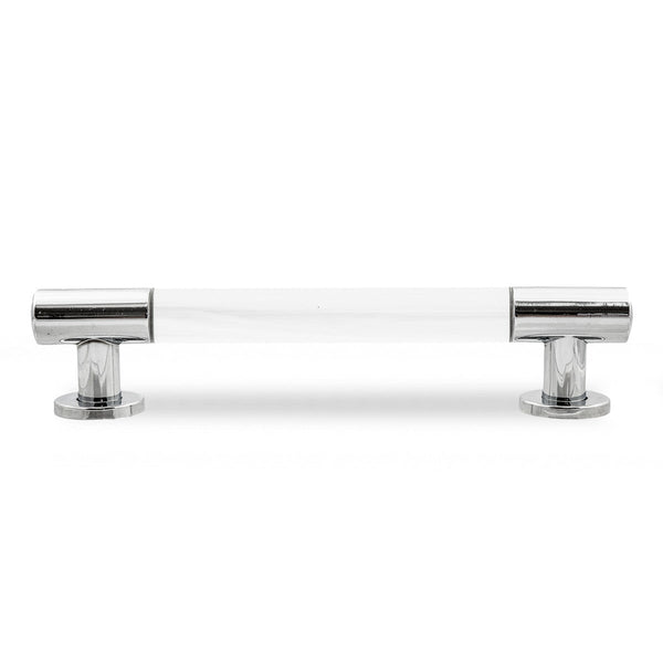 "1"" Lucite and Chrome Round Bar Pull Set of 2"